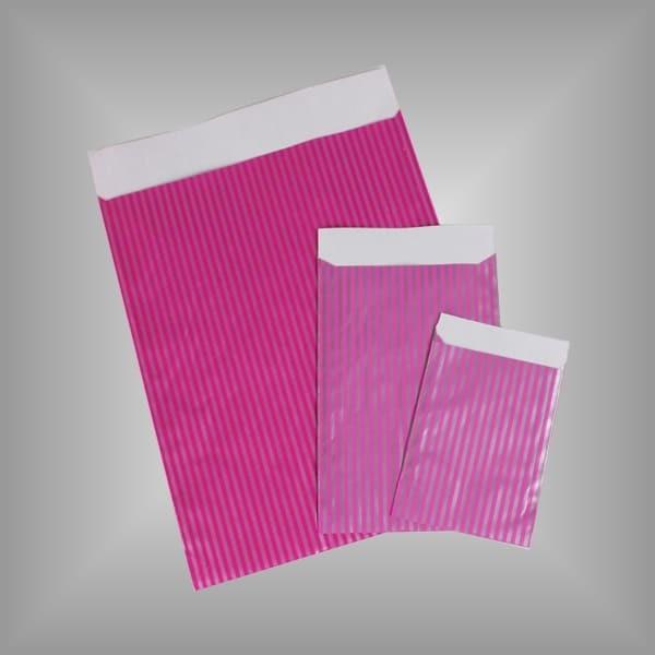 Papierflachbeutel Streifen Pink