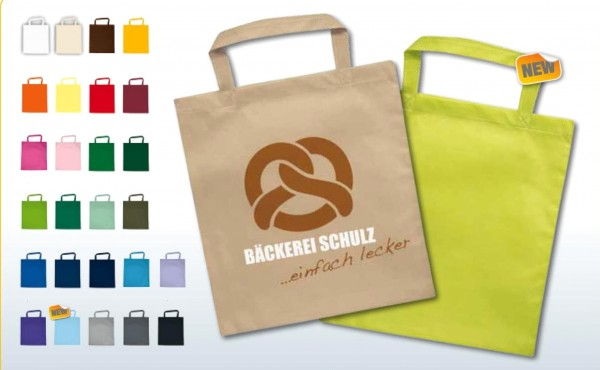 Textiltragetaschen 38 x 42 cm kurze Henkel 1-seitig 2-farbig