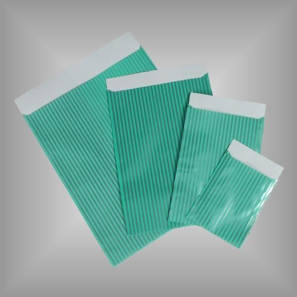 Papierflachbeutel Streifen Mintgrün